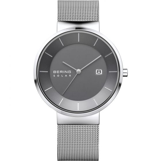 BERING Time Slim Solar Collection Stainless-steel 14639-309 Grey Dial Mens 39-mm