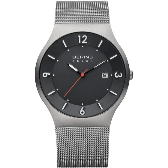 BERING Time 14440-077 Mens Solar Collection Watch with Mesh Band.