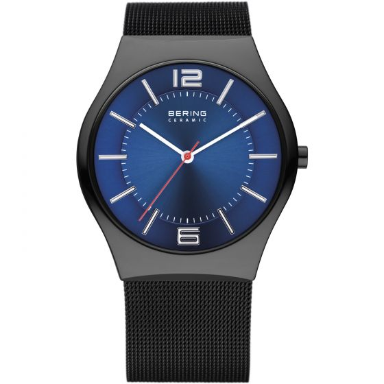 BERING Time 32039-447 Mens Ceramic Collection Watch with Mesh Band.