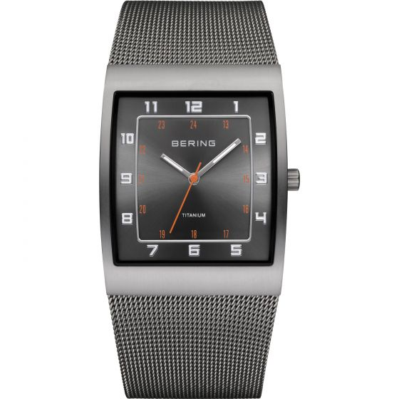 BERING Time 11233-077 Mens Titanium Collection Watch with Mesh Band.