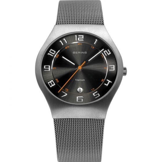 BERING Time 11937-007 Mens Titanium Collection Watch with Mesh Band.