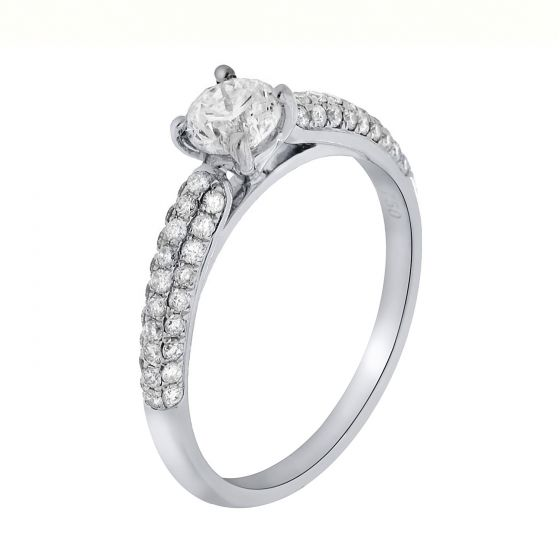 1.41 Ct. T.W. Diamond Ring in 18 Karat White Gold