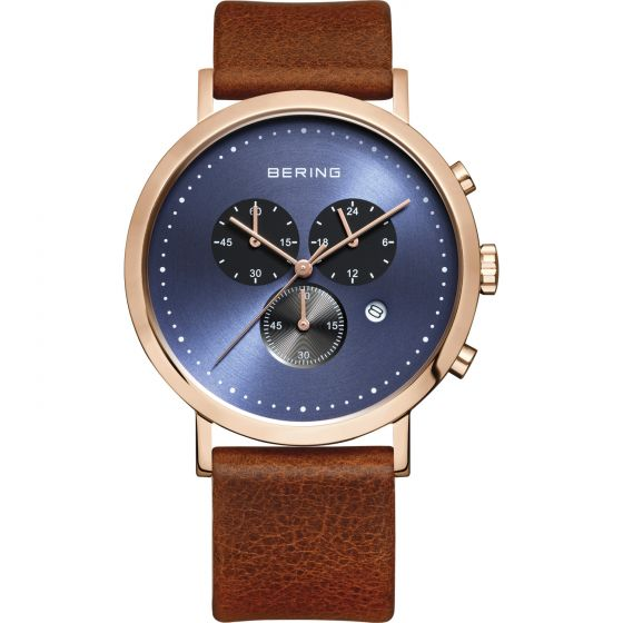 BERING Time 10540-467 Men's Classic Collection Watch with Leather Band.