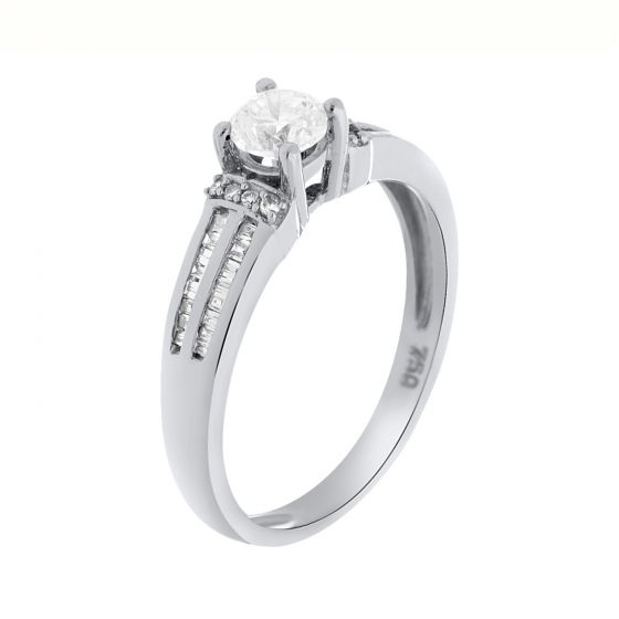 0.57 Ct. T.W. Diamond Ring In 18 Karat White Gold (