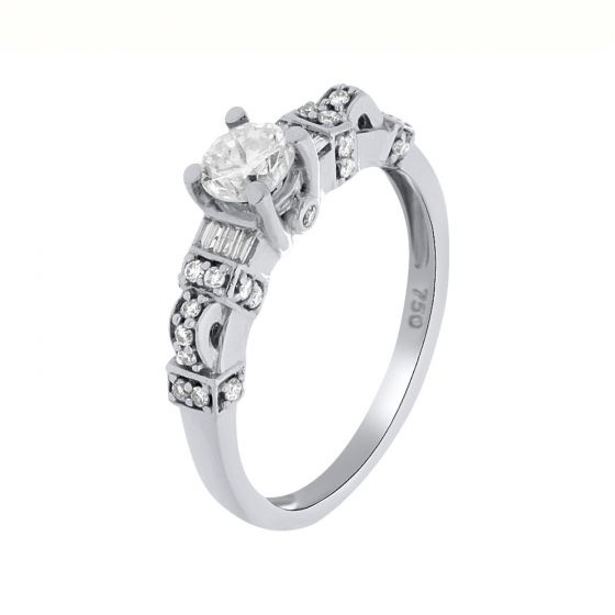 0.67 Ct. T.W. Diamond Rings In 18 Karat White Gold