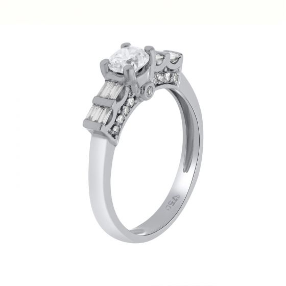 0.72Ct. T.W. Diamond Ring In 18 Karat White Gold