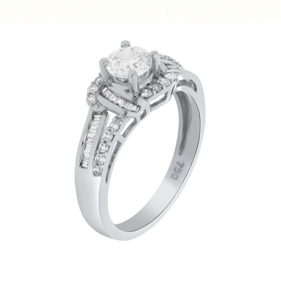 0.79 Ct. T.W. Diamond Ring In 18 Karat White Gold