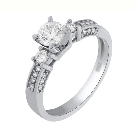 0.74 Ct. T.W. Diamond Ring In 18 Karat White Gold