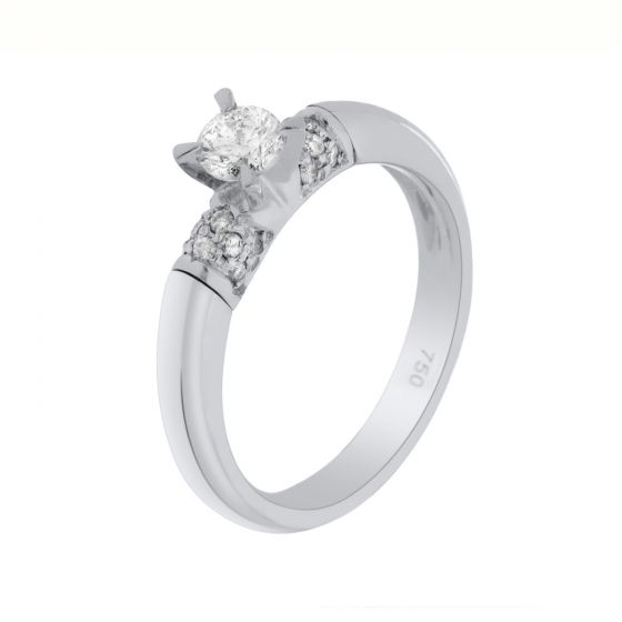0.40Ct. T.W. Diamond Ring In 18 Karat White Gold