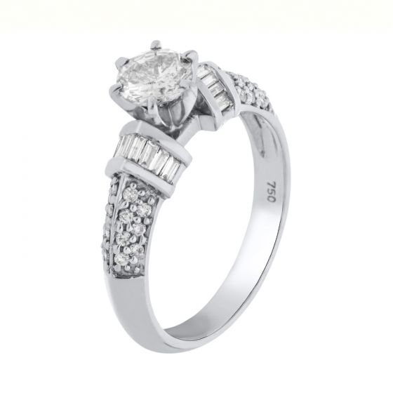 0.28 Ct. T.W. Diamond Ring In 18 Karat White Gold