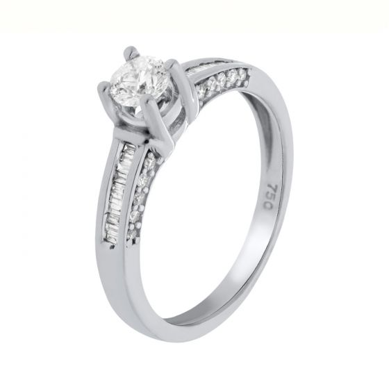 0.52 Ct. T.W. Diamond Ring In 18 Karat White Gold