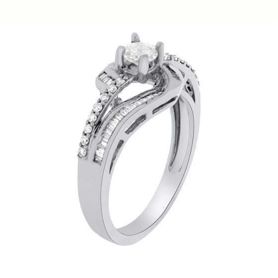 0.53 Ct. T.W. Diamond Ring In 18 Karat White Gold
