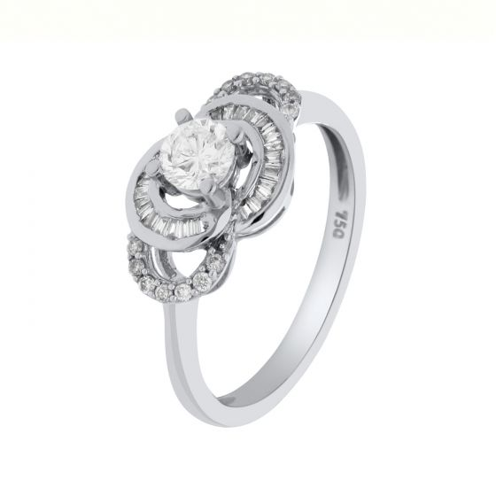 0.49 Ct. T.W. Diamond Ring In 18 Karat White Gold
