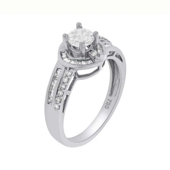 0.66 Ct. T.W. Diamond Ring In 18 Karat White Gold