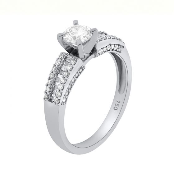 0.88 Ct. T.W. Diamond Ring In 18 Karat White Gold
