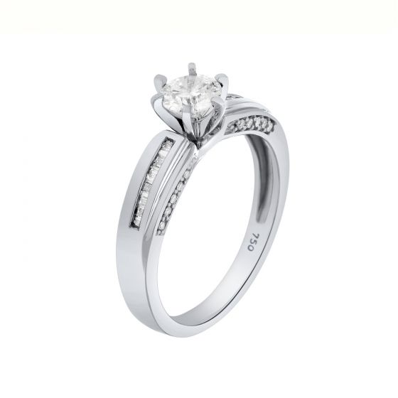 0.68 Ct. T.W. Diamond Ring In 18 Karat White Gold