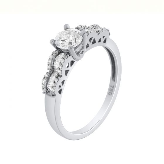 0.71 Ct. T.W. Diamond Ring In 18 Karat White Gold