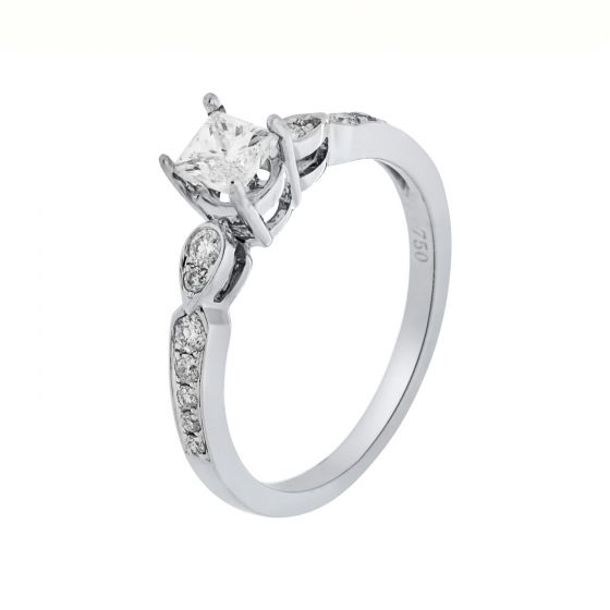 0.67 Ct. T.W. Diamond Ring In 18 Karat White Gold
