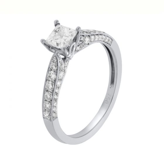 1 Ct. T.W. Diamond Ring In 18 Karat White Gold