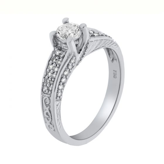 0.60 Ct. T.W. Diamond Ring In 18 Karat White Gold