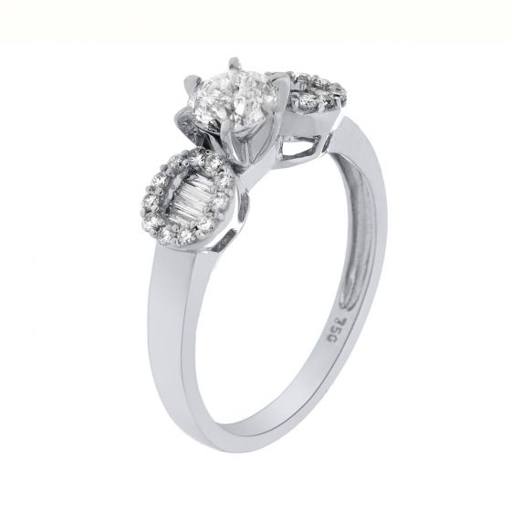 1.37 Ct. T.W. Diamond Ring In 18 Karat White Gold