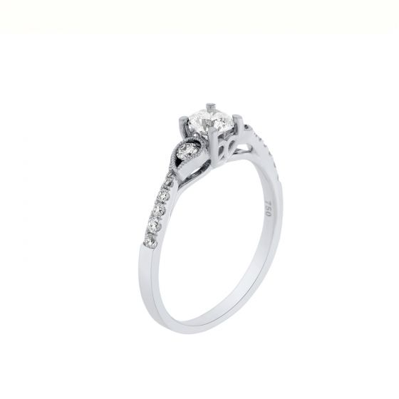 0.62 Ct. T.W. Diamond Ring In 18 Karat White Gold