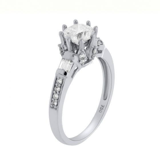 1.16Ct. T.W. Diamond Ring In 18 Karat White Gold