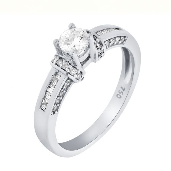 0.51 Ct. T.W. Diamond Rings In 18 Karat White Gold