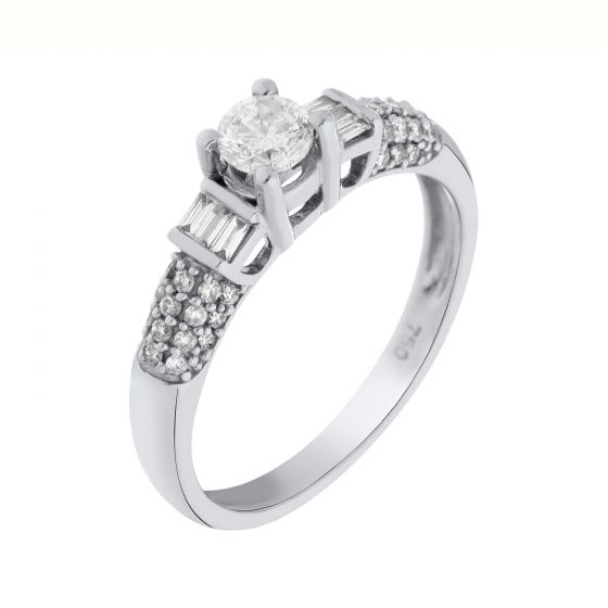 0.56 Ct. T.W. Diamond Rings In 18 Karat White Gold