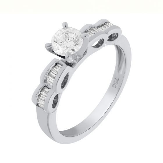 0.41 Ct. T.W. Diamond Rings In 18 Karat White Gold