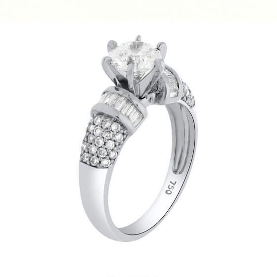 1.55 Ct. T.W.  Pave Diamond Ring In 18 Karat White