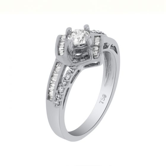 0.56Ct. T.W. Diamond Ring In 18 Karat White Gold