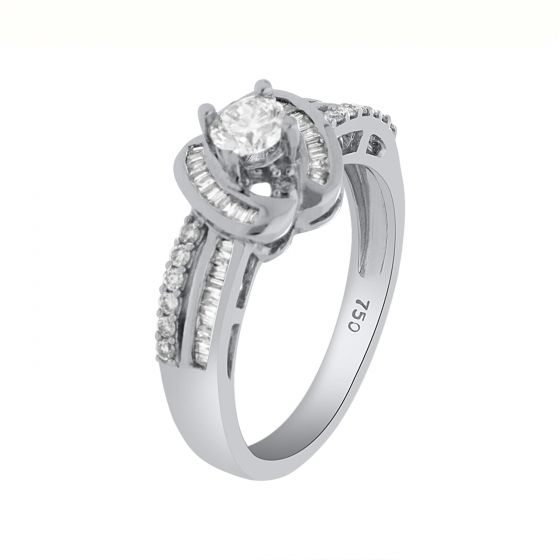 0.54Ct. T.W. Diamond Ring In 18 Karat White Gold