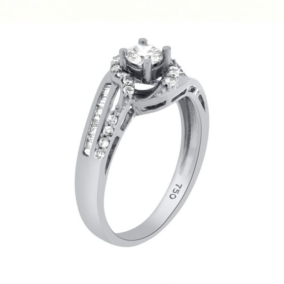 0.55 Ct. T.W. Diamond Ring In 18 Karat White Gold
