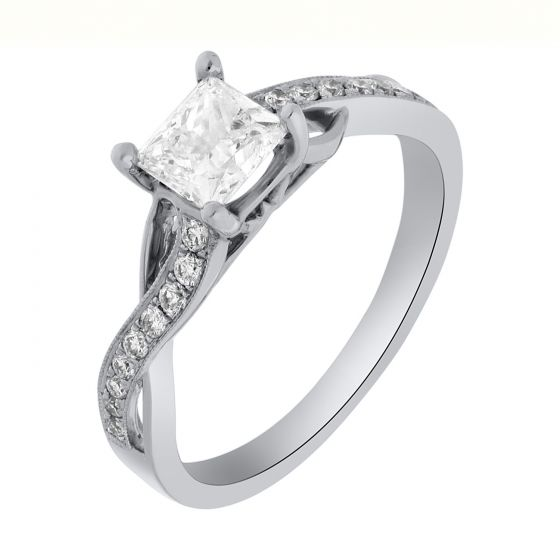 0.87 Ct. T.W. Diamond Ring In 18 Karat White Gold