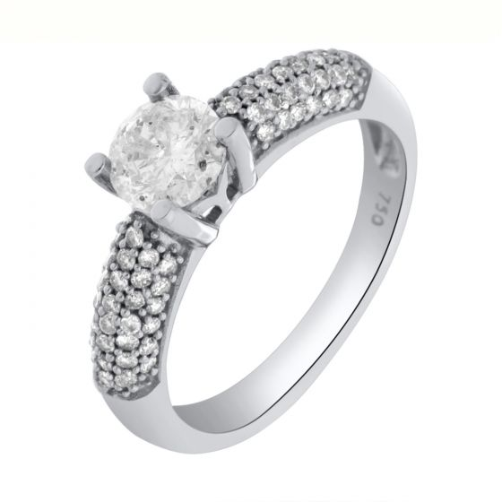 1.08Ct. T.W. Diamond Ring In 18 Karat White Gold