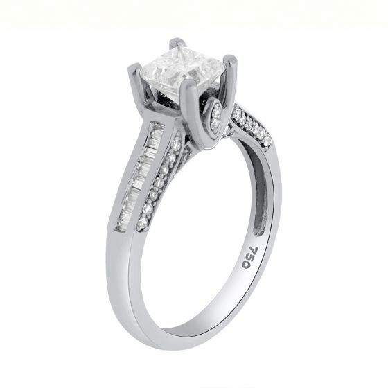 1.32 Ct. T.W. Diamond Ring In 18 Karat White Gold