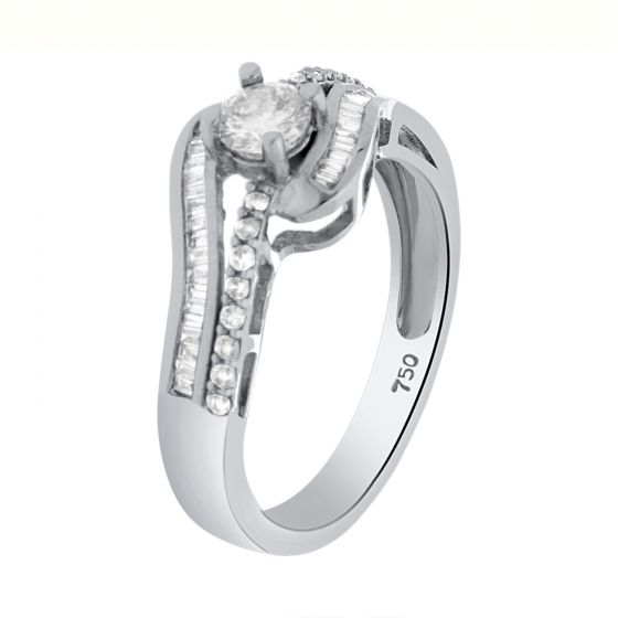 0.55Ct. T.W. Diamond Ring In 18 Karat White Gold