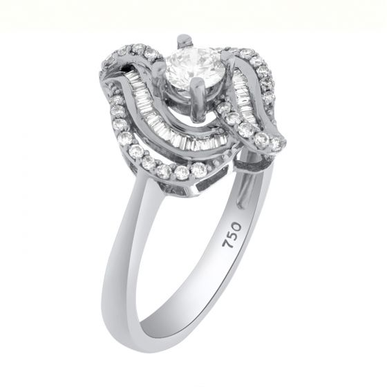 0.57Ct. T.W. Diamond Ring In 18 Karat White Gold