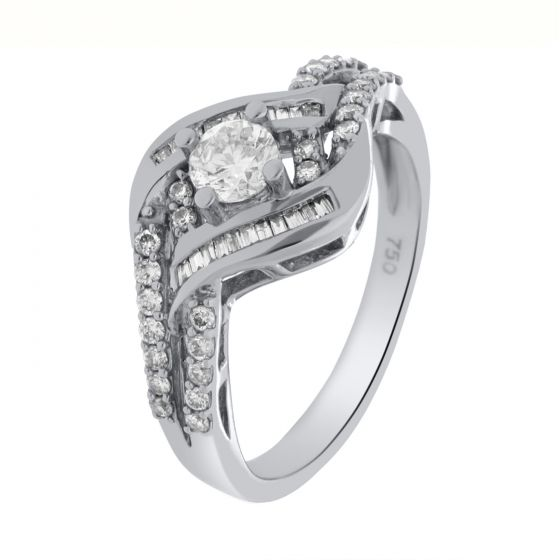 0.62Ct. T.W. Diamond Ring In 18 Karat White Gold