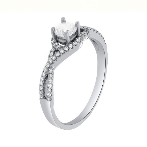 0.53Ct. T.W. Diamond Ring In 18 Karat White Gold