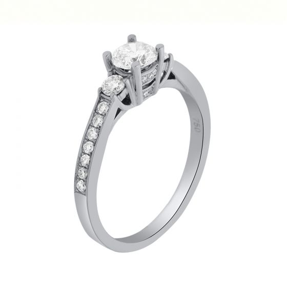 0.63 Ct. T.W. Diamond Ring In 18 Karat White Gold