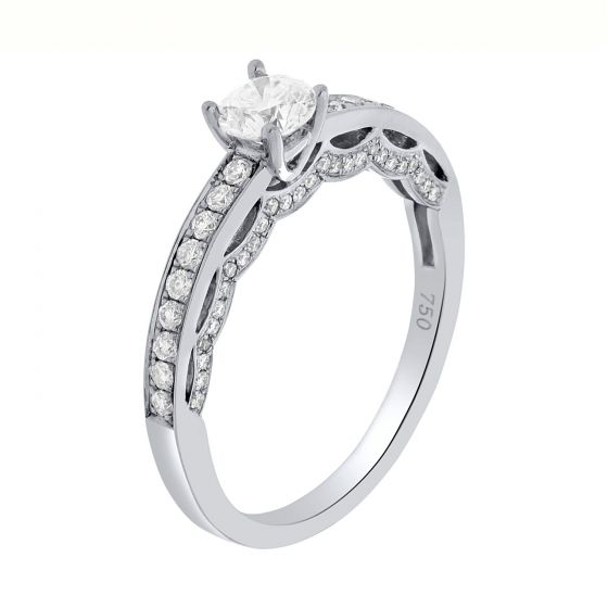 0.77 Ct. T.W. Diamond Ring In 18 Karat White Gold