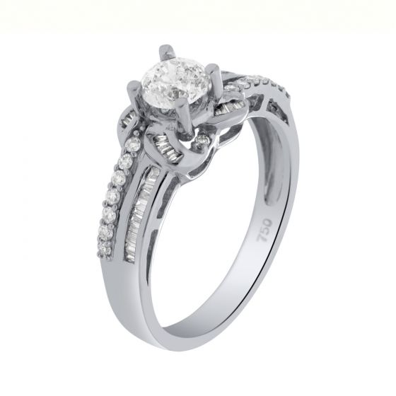 0.74 Ct. T.W. Diamond Rings In 18 Karat White Gold