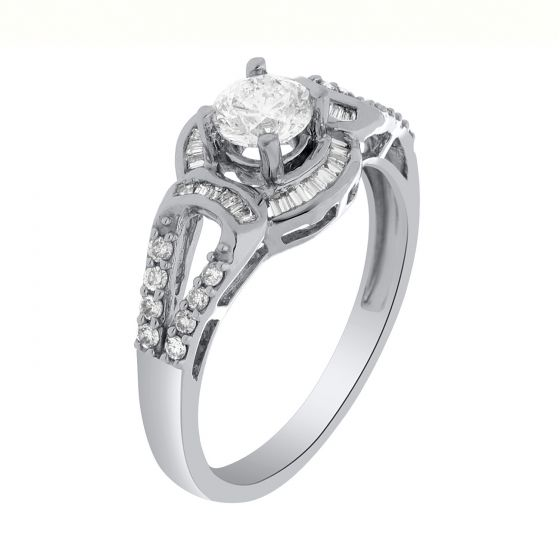 0.70 Ct. T.W. Diamond Ring In 18 Karat White Go