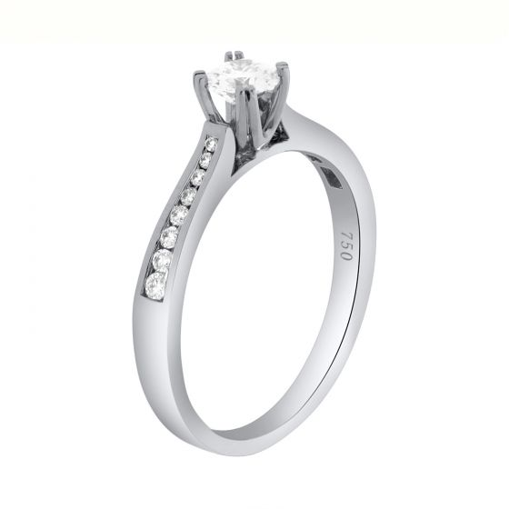 0.43 Ct. T.W. Diamond Ring In 18 Karat White Gold