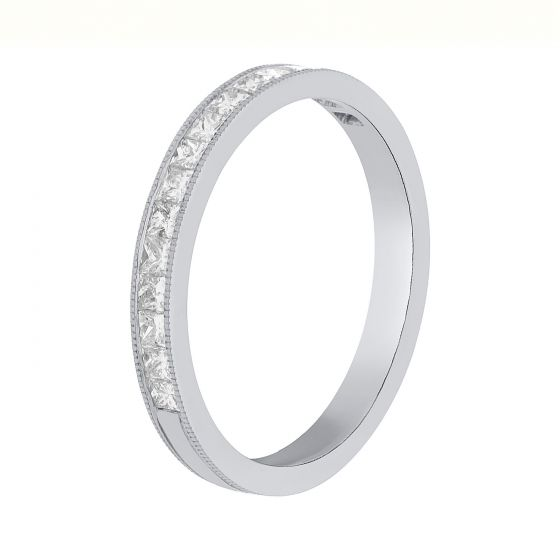 0.48ct Princess Diamond Half Eternity Bands in 18k White Gold-170068