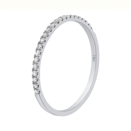 0.12Ct. T.W. Diamond Ring In 18 Karat White Gold