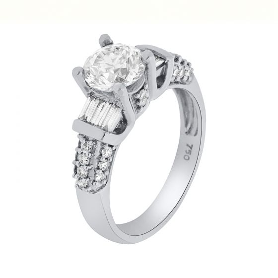 0.47 Ct. T.W. Diamond Ring In 18 Karat White Gold