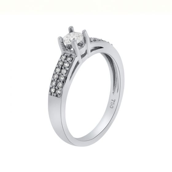 0.57 Ct. T.W. Diamond Ring In 18 Karat White Gold